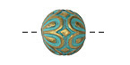 Zola Elements Patina Green Brass Daisy Capped Round 15mm