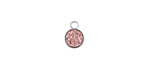Metallic Bronze Crystal Druzy Coin Charm in Silver Finish Bezel 7x9mm