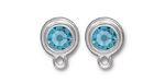 TierraCast Rhodium (plated) Stepped Bezel Ear Post w/ Aquamarine Crystal 12x17mm