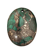Malachite & Pyrite Oval Pendant 35x45mm