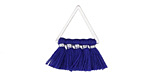 Marine Blue Small Fanned Tassel on Triangle Ring w/ Silver Finish 15x23mm