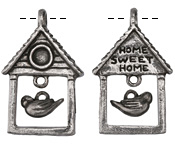 Green Girl Pewter Bird House w/ Bird 25x39mm, 13x9mm