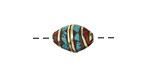 Tibetan Brass Rice Bead w/ Turquoise & Coral Mosaic 13x10mm