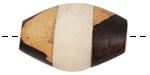 African Bone & Ebony Wood Banded Rice Bead 28-38x18-25mm