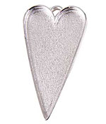 Nunn Design Sterling Silver (plated) Grande Heart Bezel Pendant 54x29mm