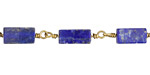 Lapis Rectangle 9x6mm Brass Bead Chain