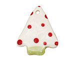 Jangles Ceramic White w/ Red Dot Tree Pendant 28x35mm