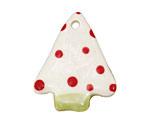 Jangles Ceramic White w/ Red Dot Tree Pendant 28x35mm