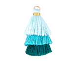 Aqua Mix Small 3-Tiered Tassel 35mm