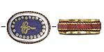 "Tibetan White Brass & Brass ""Wisdom Eyes"" Oval Coin Bead w/ Lapis & Coral 22x17mm"
