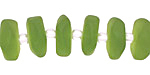 Olive Recycled Glass Freeform Spacer 4-5x14-15mm