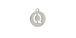 """Stainless Steel Initial Coin Charm """"Q"""" 10x12mm"""