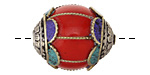 Tibetan Resin Coral & White Brass Cage w/ Coral & Turquoise Scallops Bead 28x22mm