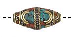 Tibetan White Brass & Brass Rice Bead w/ Orange Coral & Turquoise Mosaic 29-32x15-16mm