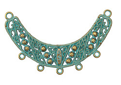 Zola Elements Patina Green Brass Studded Filigree Arc Focal Component 66x42mm