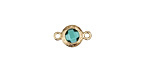 Sea Green Crystal in Gold (plated) Textured Bezel Link 8x13mm