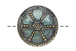 Czech Glass Stormy Rose Window Button 27mm