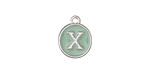 "Sweet Mint Enamel Silver Finish Initial Coin Charm ""X"" 12x14mm"