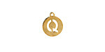 """Gold (plated) Stainless Steel Initial Coin Charm """"Q"""" 10x12mm"""