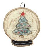Gaea Ceramic Hand Painted Snow Globe Tree Pendant