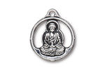 TierraCast Antique Silver (plated) Openwork Buddha Pendant 21x24mm