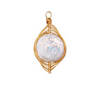 Freshwater Pearl Coin Gold Finish Wire-Wrapped Horse Eye Pendant 17-18x37-39mm