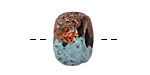Greek Ceramic Raku Metallic Frosted Copper Textured Donut 10x17mm