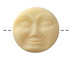 Czech Glass Matte Bisque Moon Face Button 32mm