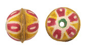 Hand Painted Pink Daisy Leather Round Bead 20-22mm