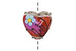 Grace Lampwork Vintage Florals Heart 19-20mm
