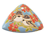 Golem Studio Two Sparrows Carved Ceramic Triangle Pendant 48x34mm
