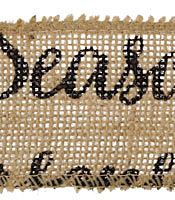 "Black ""Season's Greetings"" Script 2.5"" Wired Burlap Ribbon"