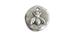 Nunn Design Antique Silver (plated) Organic Round Bee Charm 17x19mm