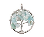 Amazonite Silver Finish Wire-Wrapped Tree of Life Pendant 28-29x35mm
