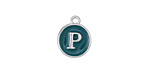 "Peacock Green Enamel Silver Finish Initial Coin Charm ""P"" 12x14mm"