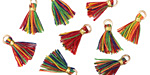 Circus w/ Gold Binding & Jump Ring Tiny Thread Tassel 12mm