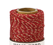Red & Metallic Gold Hemp Twine 20 lb, 205 ft