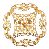 Brass Full Diamond Circle Filigree 61mm