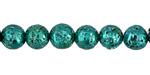 Metallic Emerald (plated) Lava Rock Round 8mm