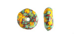 African Recycled Glass & Seed Bead Mint Green & Yellow Donut 4-6x17-20mm