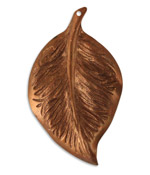 Vintaj Artisan Copper Mission Leaf Pendant 32x53mm