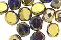 Czech Glass Mykonos Blues Picasso w/ Gold Faceted Table Cut Oval 8x7mm