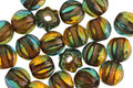 Czech Glass Rainforest w/ Copper Wash Large Hole Melon Round 6mm
