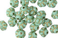 Czech Glass Light Green Turquoise w/ Gold Bali Style 6mm