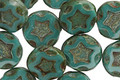 Czech Glass Persian Turquoise Starflower Coin w/ Scalloped Edge 10mm