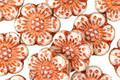 Czech Glass Bronzed Vanilla Wild Rose Coin 13mm