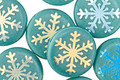 Czech Glass Laser Etched Snowflake on Turquoise w/ AB Finish Coin 14mm