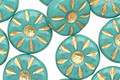 Czech Glass Turquoise Gilded Gold Daisy Coin 12mm