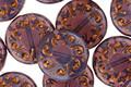 Czech Glass Bronzed Amethyst Radiant Sun Coin 13mm