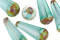 Czech Glass Aquamarine Waters Picasso Faceted Teardrop 20x8mm